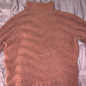 Pink Chenille Turtleneck Sweater